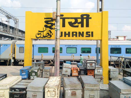 Luggage trunk securely packed and placed near the luggage office of Indian Railway station platform booking counter before departure time of the train. Jhansi, Uttar Pradesh India South Asia Pac March 2020