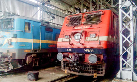 Indian locomotive class WAP Passenger traffic electric engine locomotives at Chittaranjan Locomotive Works of Indian Railways. The WAP passenger trains and WAG 9 freight locomotive is the most powerful locomotive in the Indian Railways. India November 201 Editorial