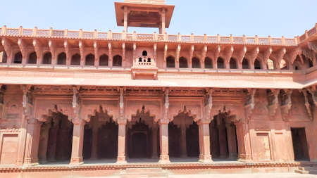 Orchha Fort agra fort Jahangir Mahal a pink sandstone fortification Palace of moghuls emperor Mahal-e-Jahangir a citadel and garrison and unesco heritage site and ancient ruins Agra India May 2019 Editorial