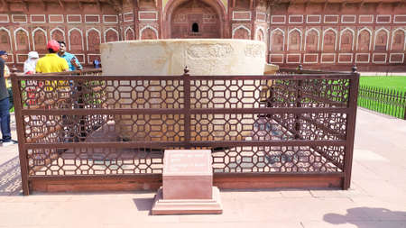 Jahangir bath tab in Orchha agra fort Jahangir Mahal a pink sandstone fortification Palace of moghuls emperor Mahal-e-Jahangir a citadel and garrison n unesco ancient heritage site Agra India May 2019 Editorial