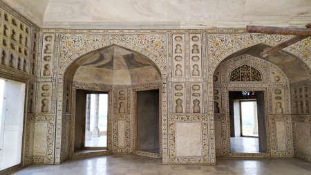 Inside view Taj Mahal Tomb mausoleum, a white marble of Mughal emperor Shah Jahan in memory of his wife Mumtaj. Taj Mahal is a jewel of Muslim art and a masterpieces of world heritage. Agra, India South Asia Pac May 2019 Editorial