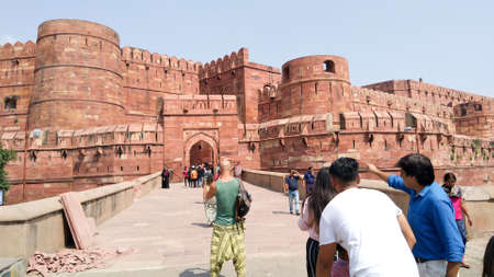 Historical Agra Fort, the main residence of emperors of the Mughal Dynasty and a UNESCO World Heritage site in the city of Agra in India South Asia Pac 15 Aug, 2019 Editorial