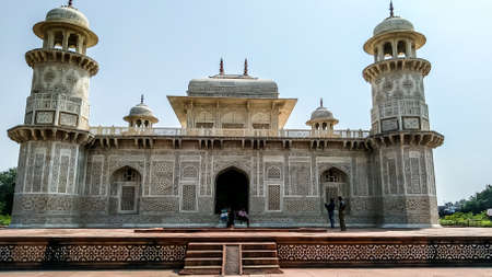 Taj Mahal Tomb mausoleum, a white marble of Mughal emperor Shah Jahan in memory of his wife Mumtaj. Taj Mahal is a jewel of Muslim art and a masterpieces of world heritage. Agra, India South Asia Pacific August 19, 2019