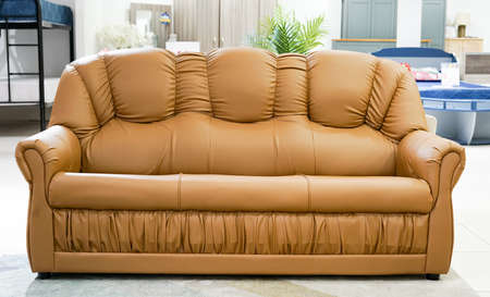 Brown color sofa set furniture isolated from home office background. Banco de Imagens