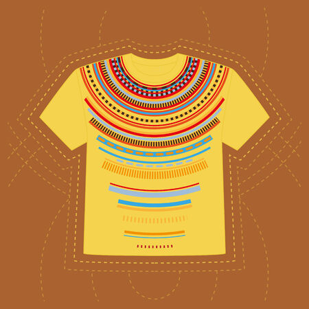 T-shirt with a geometric print in ethnic style Vector