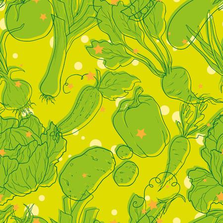 green vegetable: Green vegetable vector seamless pattern.Hand drawn background Illustration