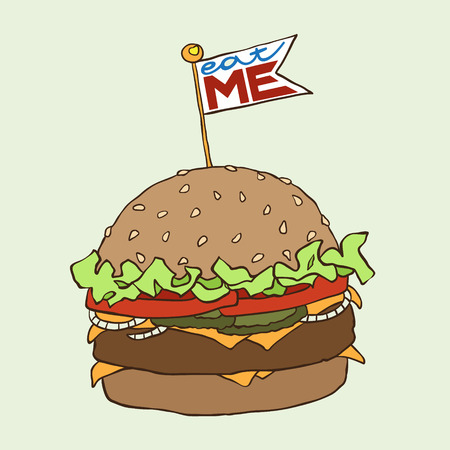eat me: Hand drawn burger with eat me checkbox.Vector illustration Illustration