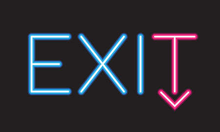 Exit neon sign.Vector colorful lettering Vector