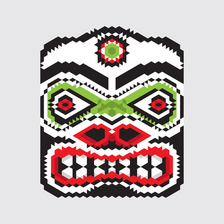 tlingit: Geometric vector haida mask.Modern stylization of North American and Canadian native art