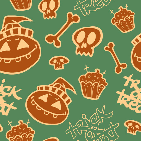 Halloween hand drawn seamless pattern.Vector background Vector