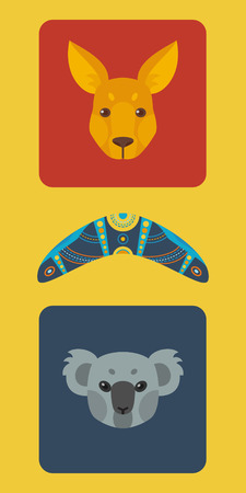 Australian colorful flat set.Vector illustration Vector