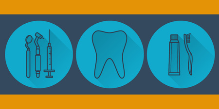 Dental colorful flat set.Vector illustration Vector