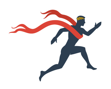 uomo rosso: Esecuzione di uomo silhouette con nastro e alloro wreath.Vector illustrazione Vettoriali