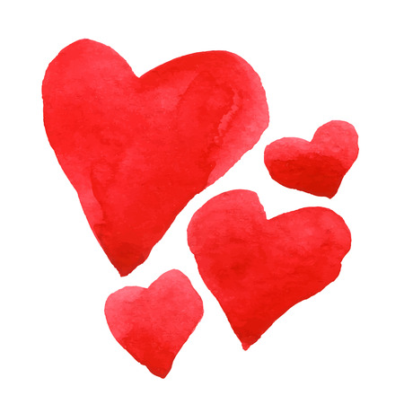 Hand drawn watercolor heart set.Vector illustration Ilustracja