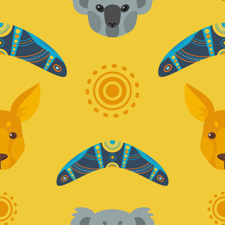 kangaroo: Australian flat seamless pattern Illustration