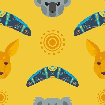 Australian flat seamless pattern Ilustração