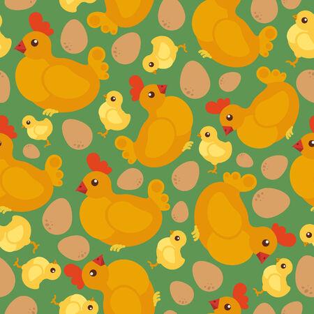 Chicken flat seamless pattern Vector