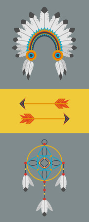 Indian colorful flat set illustration Vector