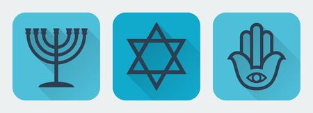 judaism: Judaism flat set illustration