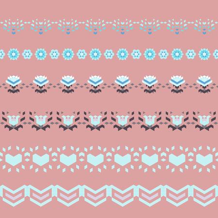 geometric style: Set of love seamless borders in geometric style