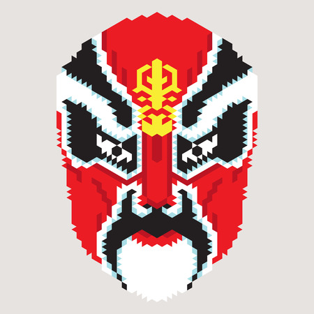 opera: Geometric chinese mask.Vector of ancient character from peking opera Illustration