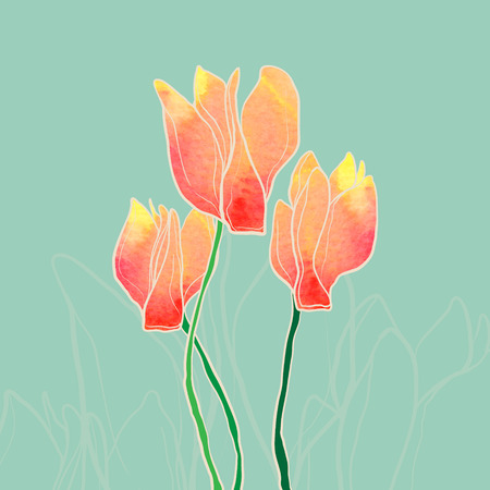 Watercolor cyclamen flowers.Vector romantic illustration