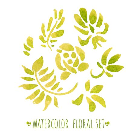 watercolor paper: Watercolor hand drawn floral set.Isolated decorative elements on white paper. Illustration