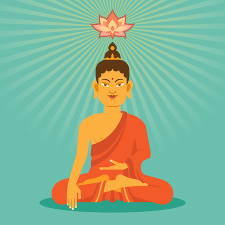 sitting meditation: Sitting and meditation Buddha with lotus flower in flat style.  Illustration