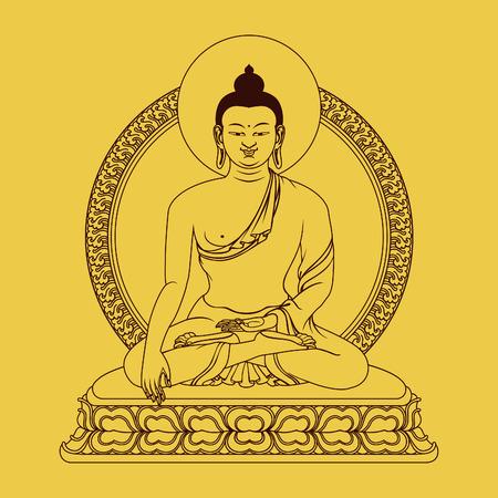 bouddha: Méditation Bouddha assis sur l'autel fleuri.