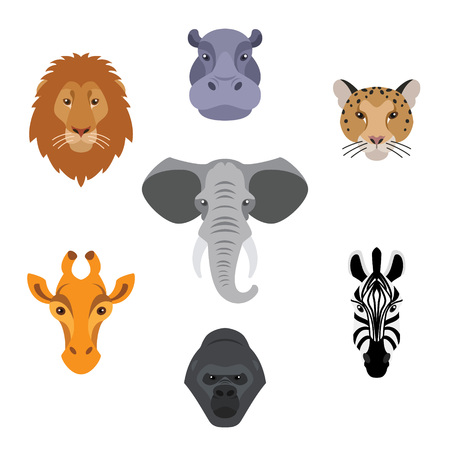 African animals in flat style.Colorful head of elephant,lion,zebra,gorilla,giraffe,hippo and jaguar.Vector isolated icons. Illustration