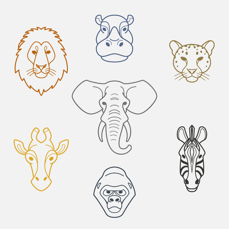 giraffe: African animals in flat style.Colorful head of elephant,lion,zebra,gorilla,giraffe,hippo and jaguar.Vector isolated icons. Illustration