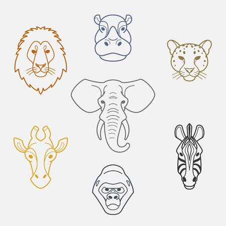 jaguar: Animales africanos en cabeza plana style.Colorful de elefante, león, cebra, gorilas, jirafas, hipopótamos y los iconos jaguar.Vector aislados. Vectores