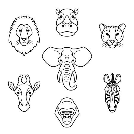 lion dessin: Animaux africains à tête plate de style.Line d'éléphant, le lion, le zèbre, gorille, girafe, l'hippopotame et jaguar.Vector icônes isolés.