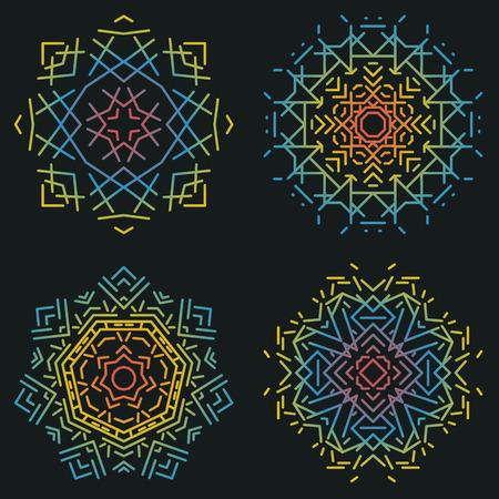 isolation: Flat mandala set.Vector colorful illustration.Ethnic decorative elements isolation on black background