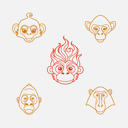 zoo: Monkey head in flat line style.Colorful and vector isolated icons.