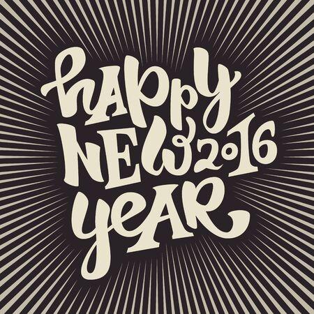 Frohes neues 2016 Jahre Hand gezeichnet lettering.Modern Typografie Poster, Grußkarte oder Druck invitation.Vector bunte Illustration Standard-Bild - 49924735