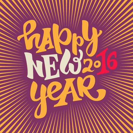 violet background: Happy new 2016 year hand drawn lettering.Modern typography poster, greeting card or print invitation.Vector colorful illustration
