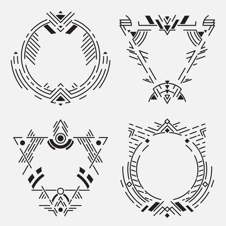 Tribal frame set.Vector linear elements Ilustracja