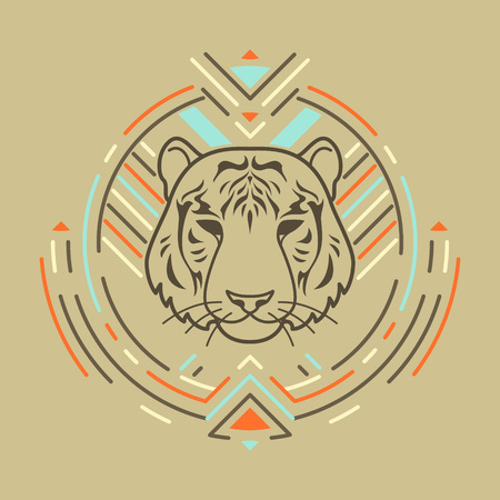 Tiger linear head in tribal frame.Vector colorful illustration in flat style