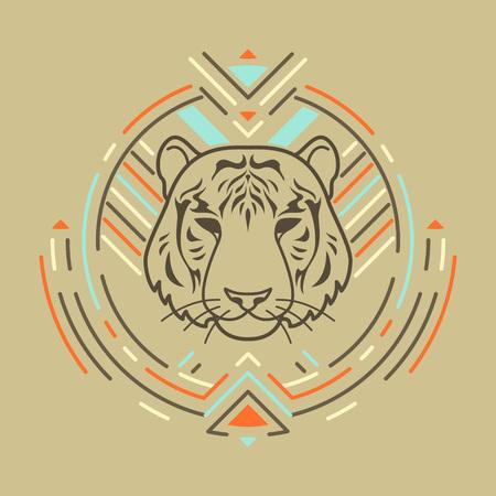 Tiger linearen Kopf in Stammes frame.Vector bunte Illustration in flachen Stil Standard-Bild - 59380269