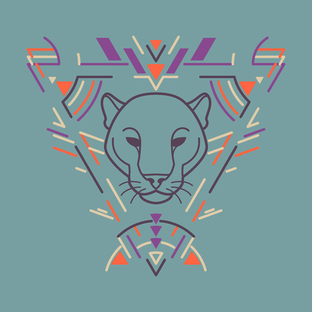 Panther linear head in tribal frame.Vector colorful illustration in flat style