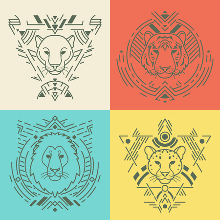Animal linear head set in tribal frames.Vector colorful illustration in flat style