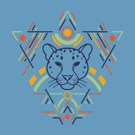 Leopard linear head in tribal frame.Vector colorful illustration in flat style Ilustracja