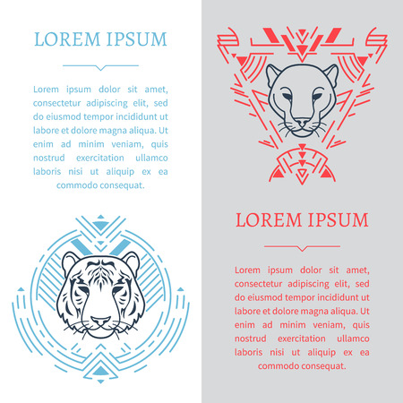Vertical design templates with animal head in tribal frame.For use as banner, brochure, flyer etc.
