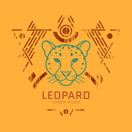 Leopard linear head in tribal frame..Vector colorful illustration in flat style with grunge texture