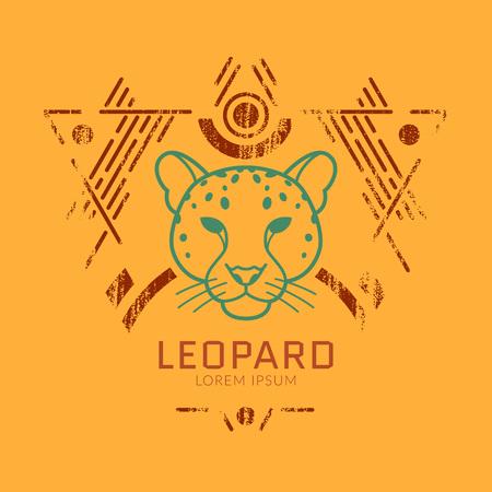 Leopard linearen Kopf in Stammes frame..Vector bunte Illustration in flachen Stil mit Grunge-Textur Standard-Bild - 59380281