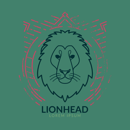Lion linear head in tribal frame..Vector colorful illustration in flat style with grunge texture