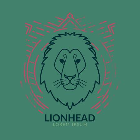 Lion linearen Kopf in Stammes frame..Vector bunte Illustration in flachen Stil mit Grunge-Textur Standard-Bild - 59380287