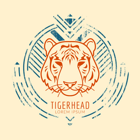 Tiger linear head in tribal frame..Vector colorful illustration in flat style with grunge texture Ilustracja