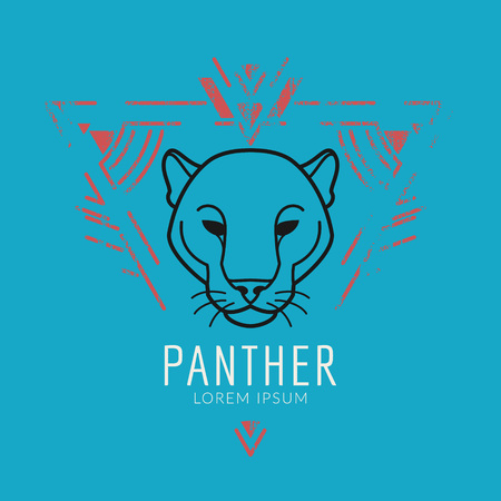 Panther linear head in tribal frame..Vector colorful illustration in flat style with grunge texture Ilustracja